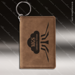 Laser Etched Engraved Keychain Leather ID Holder Dark Brown Gift Award Leather Keychain ID Holders
