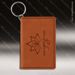 Laser Etched Engraved Keychain Leather ID Holder Rawhide Gift Award Leather Keychain ID Holders