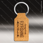 Laser Etched Engraved Keychain Cork Rectangle Gift Award Leather Keychains