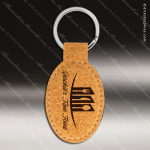 Laser Etched Engraved Keychain Cork Oval Gift Award Leather Keychains