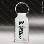 Laser Etched Engraved Keychain Leather Rectangle Gift Award - White Marble Leather Keychains