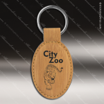 Laser Etched Engraved Keychain Leather Oval Bamboo Gift Award Leather Keychains