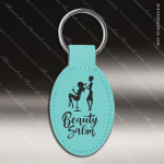 Laser Etched Engraved Keychain Leather Oval Gift Award - Teal Leather Keychains