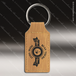 Laser Etched Engraved Keychain Leather Rectangle Gift Award - Bamboo Leather Keychains