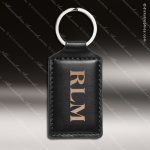 Laser Etched Engraved Keychain Leather Rectangle Black Gift Award Leather Keychains