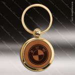 Laser Etched Engraved Keychain Leather Round Dark Brown Gift Award Leather Keychains