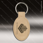 Laser Etched Engraved Keychain Leather Oval Light Brown Gift Award Leather Keychains