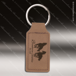 Laser Etched Engraved Keychain Leather Rectangle Dark Brown Gift Award Leather Keychains