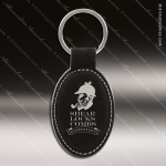 Laser Etched Engraved Keychain Leather Oval Black Gift Award Leather Keychains