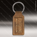 Laser Etched Engraved Keychain Leather Rectangle Rustic Gift Award Leather Keychains