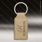 Laser Etched Engraved Keychain Leather Rectangle Light Brown Gift Award Leather Keychains