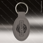 Laser Etched Engraved Keychain Leather Oval Gray Gift Award Leather Keychains