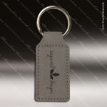 Laser Etched Engraved Keychain Leather Rectangle Gray Gift Award Leather Keychains