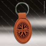 Laser Etched Engraved Keychain Leather Oval Rawhide Gift Award Leather Keychains