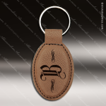 Laser Etched Engraved Keychain Leather Oval Dark Brown Gift Award Leather Keychains