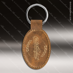 Laser Etched Engraved Keychain Leather Oval Rustic Gift Award Leather Keychains