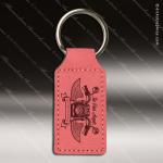 Laser Etched Engraved Keychain Leather Rectangle Pink Gift Award Leather Keychains
