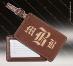 Laser Engraved Leather Luggage Tag Brown Etched Gift Leather Luggage Tags