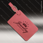 Laser Engraved Leather Luggage Tag Pink Etched Gift Leather Luggage Tags