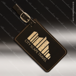 Laser Engraved Leather Luggage Tag Black Gold Etched Gift Leather Luggage Tags