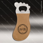 Laser Engraved Leather Magnetic Foot Shaped Bottle Opener Light Brown Etche Leather Magnetic Bottle Openers