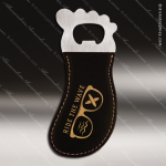 Laser Engraved Leather Magnetic Foot Shaped Bottle Opener Black Gold Etched Leather Magnetic Bottle Openers