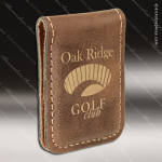 Laser Engraved Leather Money Clip Rustic Etched Gift Leather Money Clips