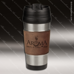 Engraved Leather Stainless Steel 16 Oz. Mug Brown Grip Laser Etched Gift Leather Mugs & Drink Holders