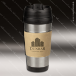 Engraved Leather Stainless Steel 16 Oz. Mug Cream Grip Laser Etched Gift Leather Mugs & Drink Holders