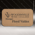 Laser Etched Engraved Light Brown Leather Name Badge Stitched Frame Magnet Leather Name Badges