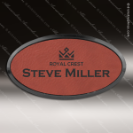 Laser Etched Engraved Rose' Leather Name Badge Black Frame Magnet Backed Leather Name Badges