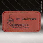 Laser Etched Engraved Rose' Leather Name Badge Stitched Frame Magnet Backed Leather Name Badges