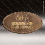 Laser Etched Engraved Rustic Leather Name Badge Stitched Frame Magnet Back Leather Name Badges