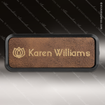 Laser Etched Engraved Rustic Leather Name Badge Black Frame Magnet Backed Leather Name Badges