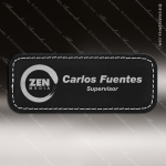 Laser Etched Engraved Black Leather Name Badge Stitched Frame Magnet Backed Leather Name Badges