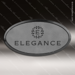 Laser Etched Engraved Gray Leather Name Badge Black Frame Magnet Backed Leather Name Badges