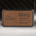 Laser Etched Engraved Dark Brown Leather Name Badge Black Frame Magnet Back Leather Name Badges