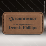 Laser Etched Engraved Dark Brown Leather Name Badge Stitched Frame Magnet Leather Name Badges