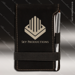 Laser Engraved Leather Pad/Pen Holder Black Silver Etched Gift Set Leather Notepad & Pen Holders