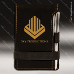 Laser Engraved Leather Pad/Pen Holder Black Gold Etched Gift Set Leather Notepad & Pen Holders