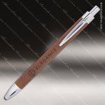 Engraved Leather Wrapped Dark Brown Pen Leather Pens & Pen Holders