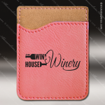 Laser Engraved Leather Phone Wallet Pink Etched Gift Leather Phone Wallets