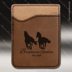 Laser Engraved Leather Phone Wallet Dark Brown Etched Gift Leather Phone Wallets