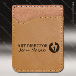 Laser Engraved Leather Phone Wallet Light Brown Etched Gift Leather Phone Wallets
