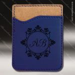 Laser Engraved Leather Phone Wallet Blue Etched Gift Leather Phone Wallets