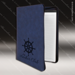 Laser Engraved Leather Portfolio With Zipper Blue Etched Gift Leather Portfolios With Zipper