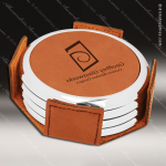 Laser Engraved Leather Coaster Set Round Metallic Edge Rawhide Etched Gift Leather Round Metallic Edge Coaster Sets