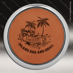 Laser Engraved Leather Coaster Round Metallic Edge Rawhide Etched Gift Leather Round Metallic Edge Coasters