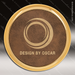 Laser Engraved Leather Coaster Round Metallic Edge Rustic Gold Etched Gift Leather Round Metallic Edge Coasters
