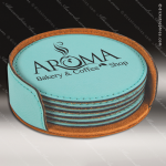 Laser Engraved Leather Coaster Set Round Stitched Edge Etched -Teal Leather Round Stitched Edge Coaster Sets